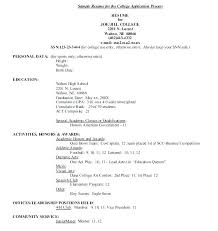 College Admissions Resume Samples College Application Resume Outline