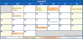 June 2015 Australia Calendar With Holidays For Printing