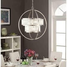 brushed nickel crystal orb 6 light chandelier