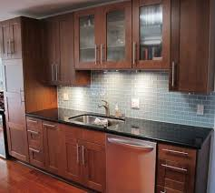 subway tile backsplash with cherry cabinets. Contemporary With Glass Subway Tile Kitchen Backsplash In Prism Squared Aquiline 2 X 4  To With Cherry Cabinets D