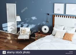 Gemütliche Blau Modernes Schlafzimmer Mit Lounge Stuhl Und Stehlampe