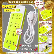 Bán Ổ Cắm Điện Đa Năng USB   Ổ Điện 6 Lỗ Và 3 Cổng Sạc USB   Ổ cắm điện đa  năng thông minh Xanh Lá