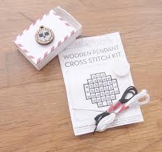 wooden pendant cross stitch kit