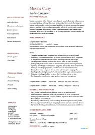 Audio Engineer Resume Template Example Cv Sound Live Producer