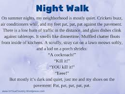 night walk a descriptive writing lesson about sounds in your  night walk a lesson on descriptive writing focus on sounds
