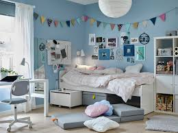 kids white bedroom furniture. a tween bedroom with blue walls and white slÄkt bed items underneath beside kids furniture