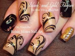 Robin Moses Nail Art: Soft Tan with Black and Gold Winter Diva ...