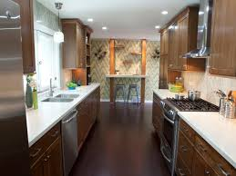 good recessed lighting for long narrow kitchen design with unique wall art and wooden cabinet