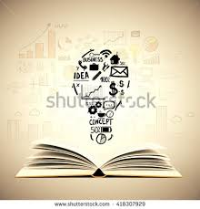 idea concept with open book lightbulb and business sketches on light brown background creative