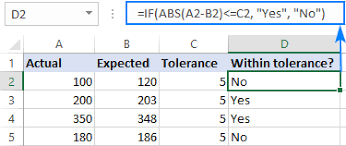 Absolute Value In Excel Abs Function With Formula Examples