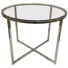 1970s chrome and glass round end table attributed to milo baughman for