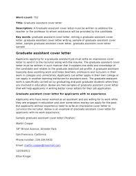 Graduate Assistant Cover Letter R Sum Professor