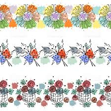 colorful frame border design. Seamless Vector Hand Drawn Floral Pattern, Endless Border Colorful Frame With Flowers, Leaves, Design F