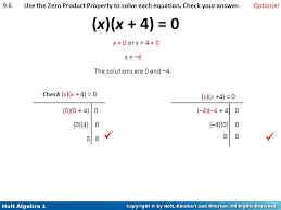 9 6 use the zero property to solve each equation check your answer optional