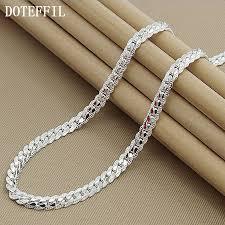 <b>New Arrivals</b> Women 6MM Full Sideways <b>925 Silver</b> Necklace <b>925</b> ...
