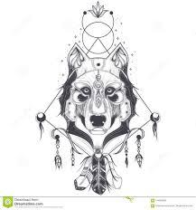 иллюстрация вид спереди головы волка геометрический эскиз