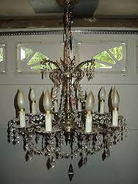 vintage chandelier brass bronze crystal made in spain 10 lights
