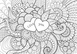 two hearts with words love you laying on flowers for coloring book for