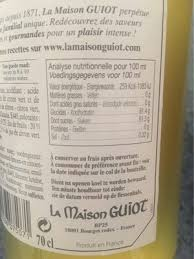 sirop de citron vert nutrition facts
