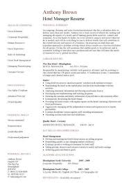 Hotel General Manager Resume Magnificent Hotel Manager CV Template Job Description CV Example Resume