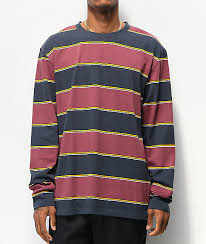 Empyre Primo Navy Maroon Striped Knit Long Sleeve T Shirt
