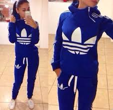 adidas 2 piece. white on royal blue adidas sweat shirt hoodie \u0026 jogger styled pants, has a cute zipper up/down detail opening placed side neck to chest 2 piece (