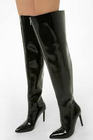 faux patent leather thigh high boots