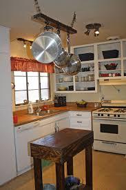 Hanging Kitchen Pot Rack Pot Rack Ideas Black Glossy Countertop Laminate Oak Wood Flooring