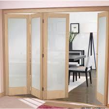 oak shaker 1 light frosted internal door bifold system
