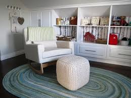 mesmerizing white shelves and cabinets in old fashioned room with white ottoman and comfy baby nursery rockers on rustic carpet and natural laminate wood baby nursery rockers rustic