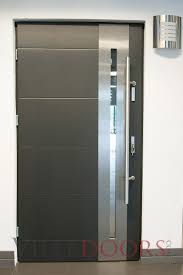 new yorker stainless steel modern entry door with glass