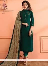 Plain Silk Salwar Kameez Designs Dark Green Maslin Plain Designer Salwar Suit