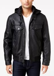 inc international concepts men s croydon faux leather hooded jacket only at macy s