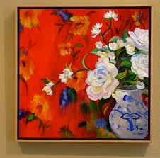 i set my heart on this wonderful piece entitled blue and white on red it is an oil on a linen canvas finished with varnish to bring out the color and