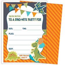 Dinosaur Birthday Invitation Koko Paper Co Dinosaur Party Invitations For Kids Birthdays Or Baby Showers Set Of 25 Cards And Envelopes Colorful Fill In Style For Boys And