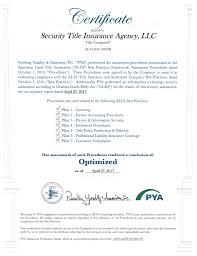 Best Practices Certification Security Title Insurance Agency