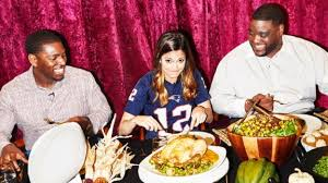 katie nolan hosts damien woody and jonathan vilma for a thanksgiving feast featuring recipes from tom brady s tb12 nutrition manual