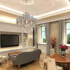 interior view luxury 18 arm pendant chandelier in chrome with grey velvet lampshdes