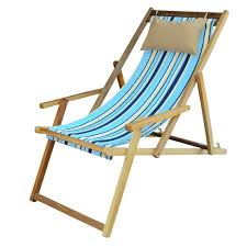 wooden deck chair ping in india with arm rest pillow cool blue
