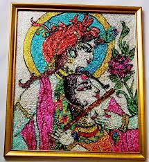 glass painting radha krishna
