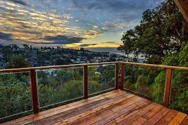 glass panel deck with an ocean view construction railing panels for cost railings