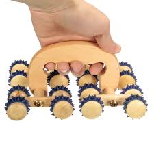 3 of 4 wooden roller rolling ball 16 wheel massager back relax tool