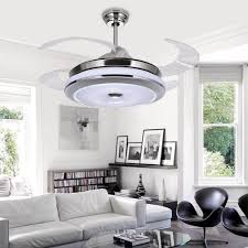 Ceiling Light With Hidden Fan Us 210 12 32 Off Led Hidden Blade Quiet Stainless Steel Acrylic Ceiling Fan Led Lamp Led Light Ceiling Lights Led Ceiling Light Ceiling Lamp In