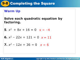 warm up solve each quadratic equation by factoring 5 x2 8x 16