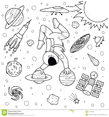 Astronauta Divertente Che Fa Yoga Sui Pianeti Illustrazione