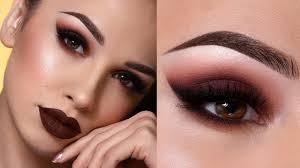 dark brown fall makeup tutorial sultry smokey eye dark lips