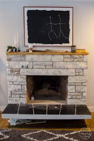 diy fireplace refresh with painted stone live edge mantle great tips on how to