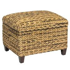 halsted wicker patio coffee table rattan ottoman with cushion outdoor stool natural fiber pouf storage