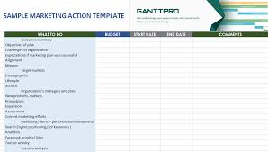 Sample Marketing Action Plan Free Download Excel Template