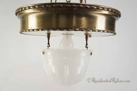 large 3 chain brass pendant light with inverted glass dome circa 1910s 2 available